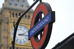 Underground and Big Ben in London, the United Kingdom Royalty Free Stock Photo