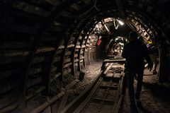 Underground black coal mine with rail tracks. Black coal mine, Silesia, Poland stock images