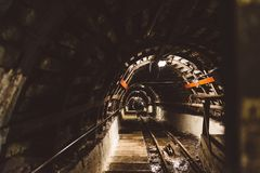Underground black coal mine with rail tracks. Black coal mine, Silesia, Poland stock photography