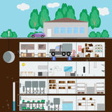 Underground bunker. Many parts of autonomous survival. Flat sty. Le. Vector illustration Stock Image
