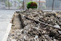 Underground cable contruction Stock Photo