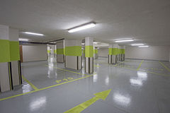 Underground car park with columns Stock Images