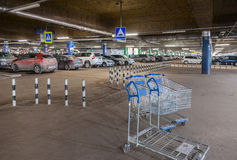 Underground car parking Mega shopping mall Royalty Free Stock Images