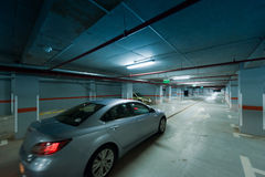 Underground car parking movement Royalty Free Stock Image
