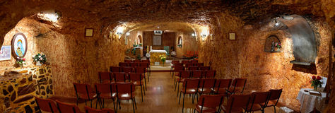 Underground Catholic church in Coober Pedy. Coober Pedy (Australia) is famous for its underground Churches. This is one of them - Catholic Church of St. Peter Royalty Free Stock Photos