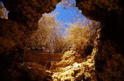 Underground cave. Inside cave in the Algarve, Portugal Stock Photography