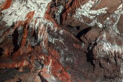 Underground cave texture closeup photo. With limestone Royalty Free Stock Images
