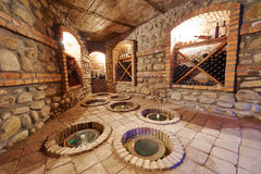 Underground cellar for storing wine stock photo
