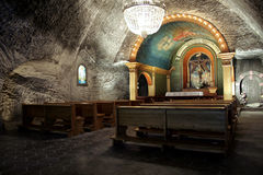 Underground chapel. Chapel hollowed out in 1859, placed 135 meter underground. Salt mine Wieliczka the jewel of Poland, one of 10 UNESCO World Heritage Sites Stock Photography