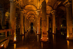 Underground Cistern with water, Istanbul, Turkey Royalty Free Stock Photos