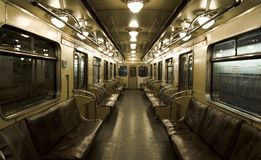Underground coach. Old underground coach in  russian subway Royalty Free Stock Image