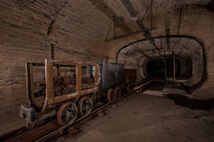 Underground  Coal Mine Tunnel. An underground Coal Mine Tunnel with rails trolley's Royalty Free Stock Photo