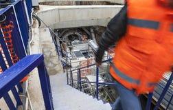 Underground construction mine drilling metro tunnel Stock Photos