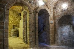 Underground corridors in wine cellar Stock Photo