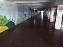 Underground crossing. Underground passage Walls painted graffiti Underground communication royalty free stock photography