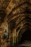 Underground crypt. Cropped shot of crypt walls and vaulted ceiling royalty free stock images