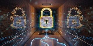 Underground cyber security hologram with digital padlock 3D rend. Blue and orange underground cyber security hologram with digital padlock 3D rendering Royalty Free Illustration