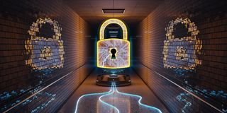 Underground cyber security hologram with digital padlock 3D rend. Blue and orange underground cyber security hologram with digital padlock 3D rendering Royalty Free Stock Photography