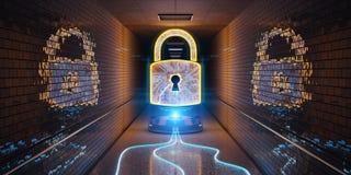 Underground cyber security hologram with digital padlock 3D rend. Blue and orange underground cyber security hologram with digital padlock 3D rendering Vector Illustration