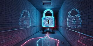 Underground cyber security hologram with digital padlock 3D rend. Blue and pink underground cyber security hologram with digital padlock 3D rendering Stock Photography