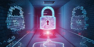 Underground cyber security hologram with digital padlock 3D rend. Blue and pink underground cyber security hologram with digital padlock 3D rendering Stock Image