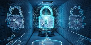 Underground cyber security hologram with digital padlock 3D rend. Blue underground cyber security hologram with digital padlock 3D rendering stock illustration