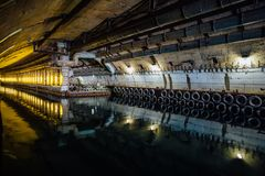 Underground dock for submarines. Underground submarine repairing factory in Balaklava, Crimea.  royalty free stock image