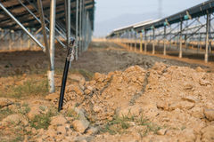 The underground electrical cable in the solar farm plant Stock Photo