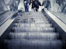 Underground Elevator with motion blur and blue tint Royalty Free Stock Photos