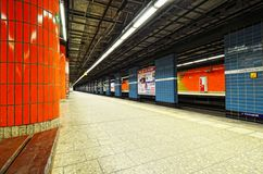Underground empty platform train station in Hamburg city Stock Image