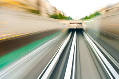 Underground entering the tunnels. Motion image of an underground train entering a tunnel Royalty Free Stock Image