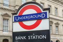 Underground entrance at Bank in the City of London. Entrance to the Underground at Bank Royalty Free Stock Photos