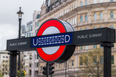 The Underground. The entrance to Underground,The Tube at Trafalgar square Royalty Free Stock Photos