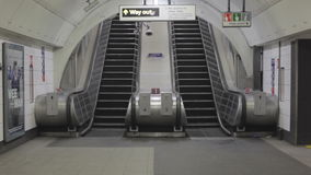 Underground Excalators. LONDON, UNITED KINGDOM - JANUARY 21, 2013: Empty Underground Escalators in London, United Kingdom stock footage