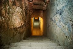 Underground Exploration. Exploring the underground tunnels of Fort Rinella in Kalkara, Malta Stock Photos