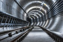Underground facility with a big tunnel stock photo