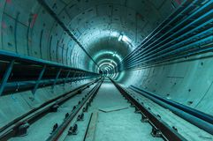 Underground facility with a big tunnel Royalty Free Stock Photos