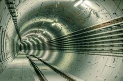 Underground facility with a big tunnel Royalty Free Stock Images