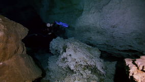 Underground fresh lake in Mexican Dos Ojos cenote. stock video