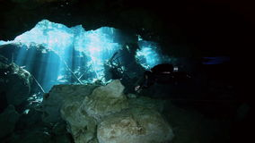 Underground fresh lake in Mexican Dos Ojos cenote. Underwater stalactites and stalagmites in landscape Mexican Sacred Mayan Cenote. Deep underground clean and stock footage