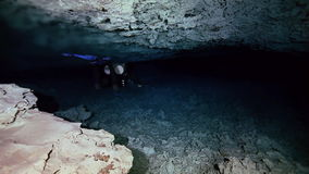 Underground fresh lake in Mexican Dos Ojos cenote. Underwater stalactites and stalagmites in landscape Mexican Sacred Mayan Cenote. Deep underground clean and stock video