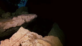 Underground fresh lake in Mexican Dos Ojos cenote. stock video footage