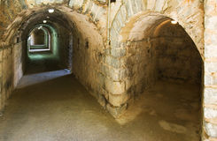 Underground galleries in the Roman theater in Sagunto, Valencia, Spain Stock Photos