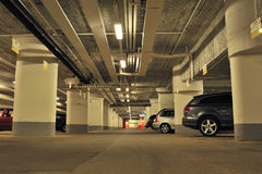 Underground Garage. With parked cars Royalty Free Stock Images