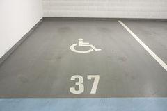 Underground garage for disabled person. Underground garage - parking lot in a basement of house for disabled person Stock Images