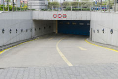 Underground garage entry Stock Images