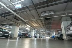 Underground garage or modern car parking. Toned royalty free stock images