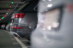 Underground garage or modern car parking. With lots of vehicles, perspective stock photography