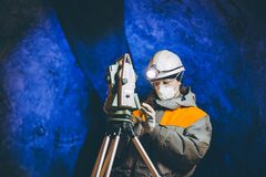 Underground geologist mining. Female equipment tunnel tool Royalty Free Stock Photos