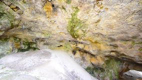 Underground Green deep cave. Heaven and hell underground Green deep cave colorful stones stock footage